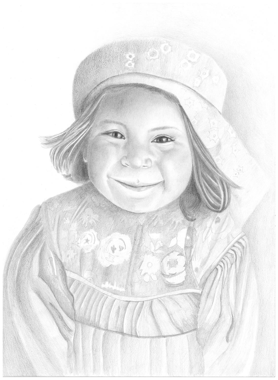 Dibujo a lápiz - Niña Rarámuri