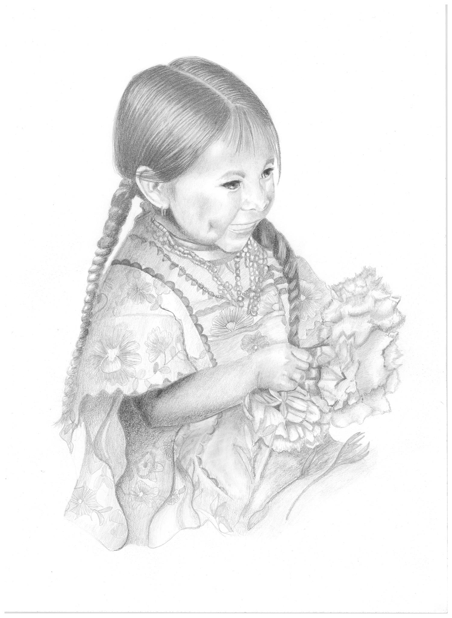 Dibujo a lápiz - Niña con flores